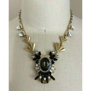 J.Crew Art Deco Gold Tone Black Bling Necklace